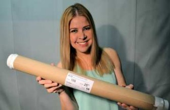 "Julissa holding 10 yard roll of 106 25"" Volan .73 oz fiberglass cloth from Thayercraft"