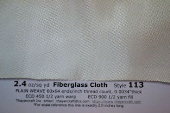 Close up photo of tight weave fiberglass cloth style 113 from thayercraft.com