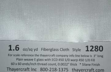 1.6 oz Fiberglass cloth Close up with Construction Data