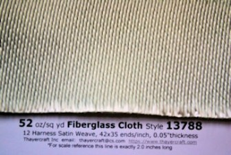 Close up photo of heavy 52 ounce fiberglass cloth