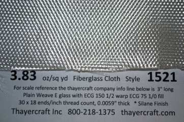 3.83 oz Warp Weave fiberglass cloth close up with Construction Data