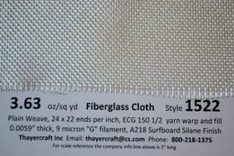 Style 1522 fiberglass cloth close up with Construction data from Thayercraft