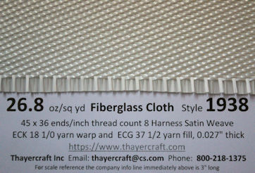 Style 1938 26.8 oz/sq yd fiberglass cloth with construction data
