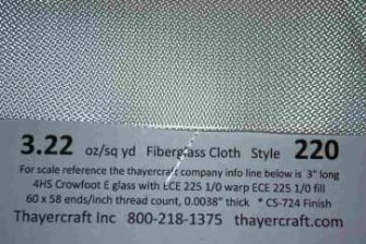 Fiberglass 220 4hs 3.22 oz crowfoot weave close up with construction data