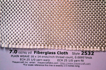 Style 2532, 7 oz/sq yd fiberglass cloth close up with construction data
