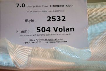 Style 2532, 7 oz/sq yd fiberglass cloth on table loose with id sheet