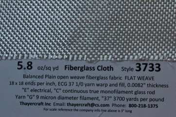 3733 Flat 6 oz fiberglass cloth close up with data  from Thayercraft