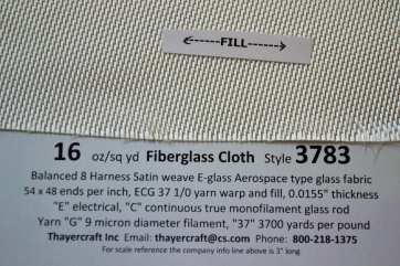 Style 3783 8hs fiberglass cloth close up with Construction data from Thayercraft