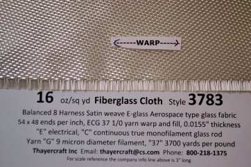 Style 3783 8hs fiberglass cloth const data showing edge from Thayercraft