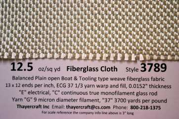 3789 12.5 oz/sq yd Fiberglass cloth close up with construction data from Thayercraft