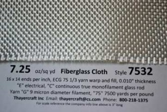 Style 7532, 7.25 oz/sq yd fiberglass cloth with construction data