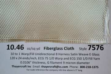 7576 8hs uni fiberglass cloth close up with data smooth side  from Thayercraft