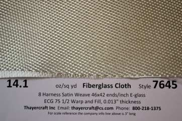 Style 7645 14.1 oz/sq yd 8HS Fiberglass Cloth with Construction Data from Thayercraft