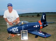 Larry Wright with his FJ-1 Fury turbine jet made with fiberglass from Thayercraft