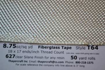 "Style T64, 4"" fiberglass tape close up with data from Thayercraft"