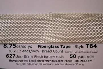 T64 8.75 oz/sq yd Fiberglass Tape close up with data from Thayercraft