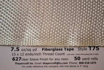 T75 7.5 oz/sq yd fiberglass tape close up with data from Thayercraft