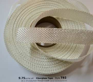 "Style T92 9.75 oz/sq yd 1"" Fiberglass Cloth Tape from Thayercraft"